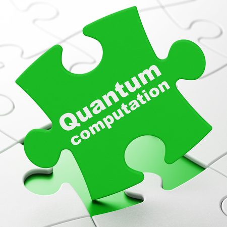 computation: Science concept: Quantum Computation on Green puzzle pieces background, 3d render Stock Photo