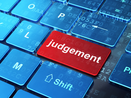 judgement: Law concept: computer keyboard with word Judgement on enter button background, 3d render Stock Photo