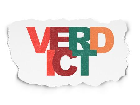 verdict: Law concept: Painted multicolor text Verdict on Torn Paper background