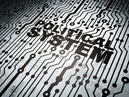 political system: Politics concept: circuit board with  word Political System, 3d render Stock Photo