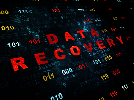 data recovery: Information concept: Pixelated red text Data Recovery on Digital wall background with Binary Code