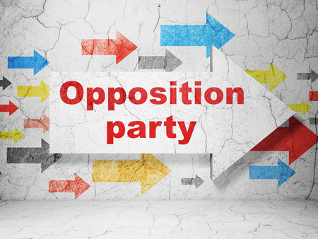 political party: Political concept:  arrow with Opposition Party on grunge textured concrete wall background