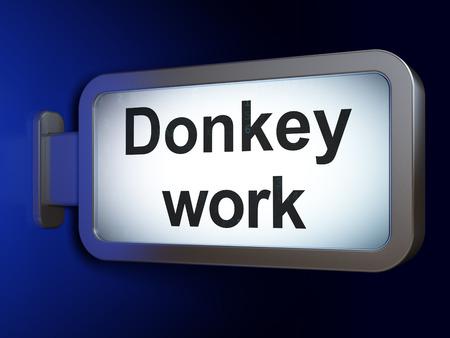 burro: Concepto de negocio: Burro trabajo en publicidad fondo cartelera, 3d Foto de archivo