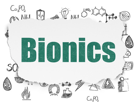 bionics: Science concept: Painted green text Bionics on Torn Paper background with  Hand Drawn Science Icons Stock Photo