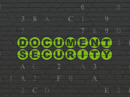 hexadecimal: Protection concept: Painted green text Document Security on Black Brick wall background with Hexadecimal Code