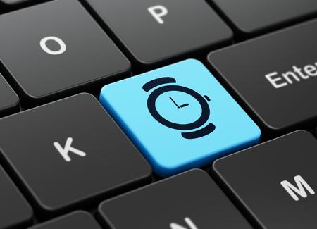 cronologia: Concepto de l�nea de tiempo: Teclado de ordenador con el reloj icono en el fondo entra en el bot�n, 3d