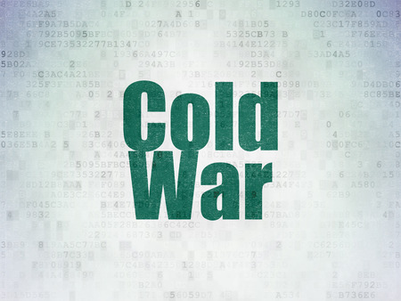 cold war: Political concept: Painted green word Cold War on Digital Paper background