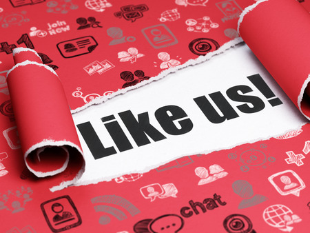 microblog: Social media concept: black text Like us! under the curled piece of Red torn paper with  Hand Drawn Social Network Icons