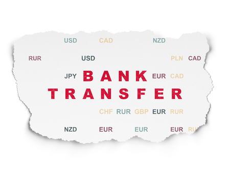 bank transfer: Currency concept: Painted red text Bank Transfer on Torn Paper background with  Currency