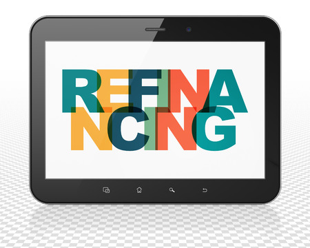 refinancing: Business concept: Tablet Pc Computer with Painted multicolor text Refinancing on display Stock Photo