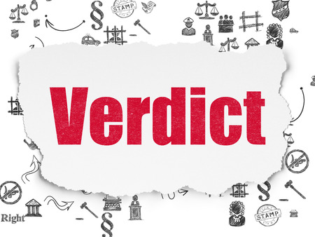 Law concept: Painted red text Verdict on Torn Paper background with Scheme Of Hand Drawn Law Icons Stock Photo