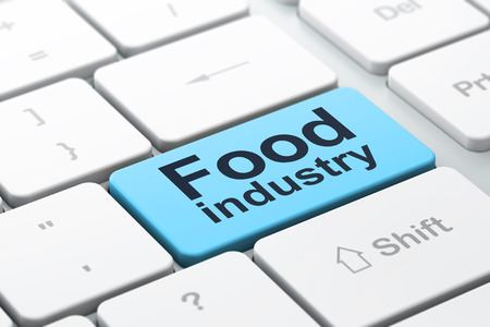 food industry: Industry concept: computer keyboard with word Food Industry, selected focus on enter button background, 3d render Stock Photo