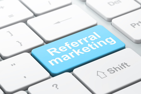 referral marketing: Advertising concept: computer keyboard with word Referral Marketing, selected focus on enter button background, 3d render Stock Photo