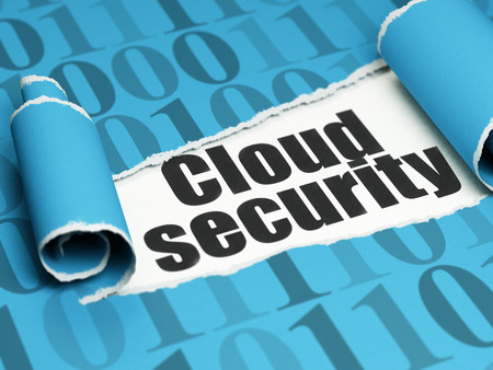 security technology: Cloud technology concept: black text Cloud Security under the curled piece of Blue torn paper with  Binary Code