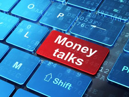 conversaciones: Concepto de las finanzas: Teclado de ordenador con palabra Money Talks en introducir botón de fondo, 3d Foto de archivo