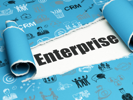brand damage: Business concept: black text Enterprise under the curled piece of Blue torn paper with  Hand Drawn Business Icons Stock Photo