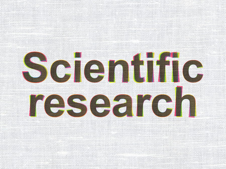 science scientific: Science concept: CMYK Scientific Research on linen fabric texture background