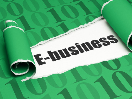 Business concept: black text E-business under the curled piece of Green torn paper with  Binary Code