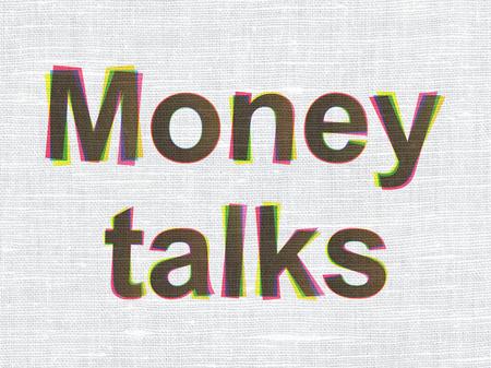 conversa: Concepto de negocio: CMYK Money Talks sobre lino tejido textura de fondo