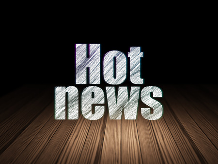 hot news: News concept: Glowing text Hot News in grunge dark room with Wooden Floor, black background