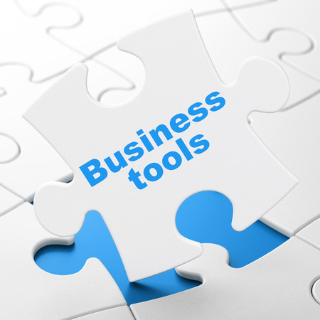 brainteaser: Finance concept: Business Tools on White puzzle pieces background, 3d render