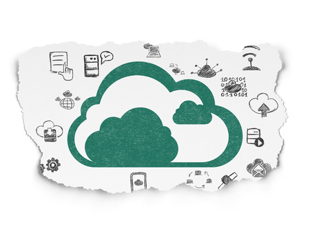 green computing: Cloud computing concept: Painted green Cloud icon on Torn Paper background with  Hand Drawn Cloud Technology Icons