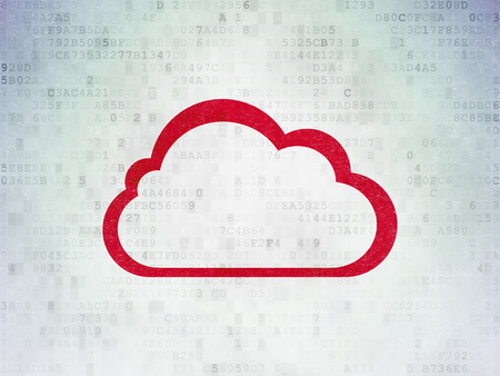 クラウド技術概念: デジタル ペーパーの背景に赤の雲アイコンを塗装
