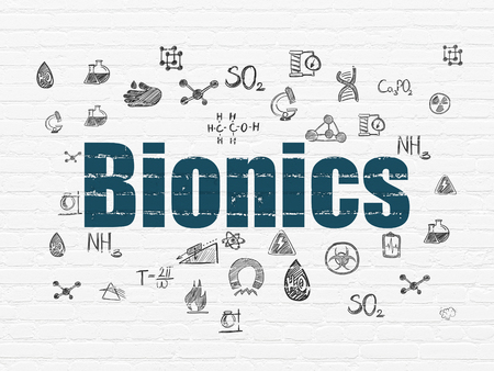 bionics: Science concept: Painted blue text Bionics on White Brick wall background with  Hand Drawn Science Icons