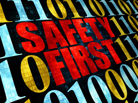 safety first: Safety concept: Pixelated red text Safety First on Digital wall background with Binary Code