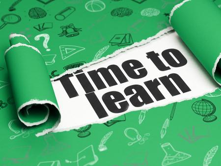 Concetto di apprendimento: nero Tempo di testo per imparare sotto il pezzo arricciata di Green carta strappata con disegnati a mano icone di istruzione Archivio Fotografico - 48287025