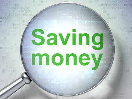 digital background: Finance concept: magnifying optical glass with words Saving Money on digital background