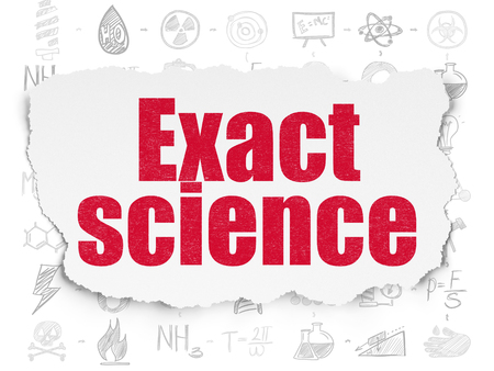 exact science: Science concept: Painted red text Exact Science on Torn Paper background with Scheme Of Hand Drawn Science Icons