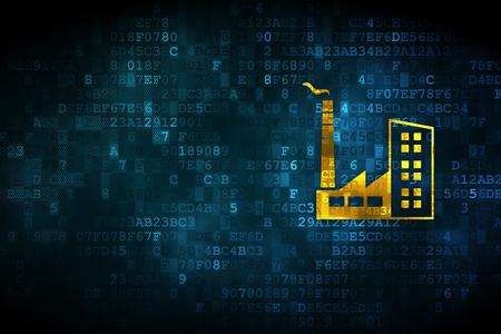 Industrie-Konzept: pixelig Industriegebäude Symbol auf digitale Hintergrund, leeren Exemplar für Karte, Text, Werbung