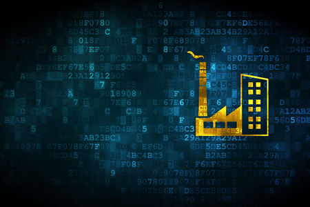 empty warehouse: Industry concept: pixelated Industry Building icon on digital background, empty copyspace for card, text, advertising Stock Photo
