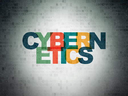 cybernetics: Science concept: Painted multicolor text Cybernetics on Digital Paper background Stock Photo