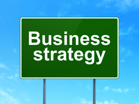 clear strategy: Finance concept: Business Strategy on green road highway sign, clear blue sky background, 3d render