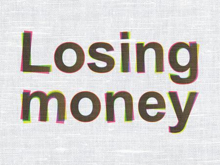 losing money: Money concept: CMYK Losing Money on linen fabric texture background