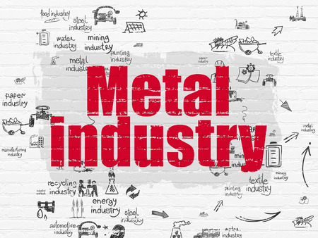 drawn metal: Industry concept: Painted red text Metal Industry on White Brick wall background with Scheme Of Hand Drawn Industry Icons Stock Photo