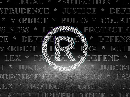 r regulation: Law concept: Glowing Registered icon in grunge dark room with Dirty Floor, black background with  Tag Cloud