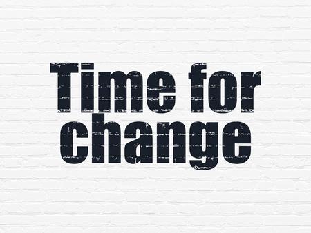 cronologia: Concepto de tiempo: el tiempo Pintado texto negro para el Cambio en el ladrillo blanco pared de fondo Foto de archivo