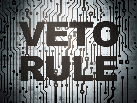 veto: Political concept: circuit board with  word Veto Rule, 3d render Stock Photo