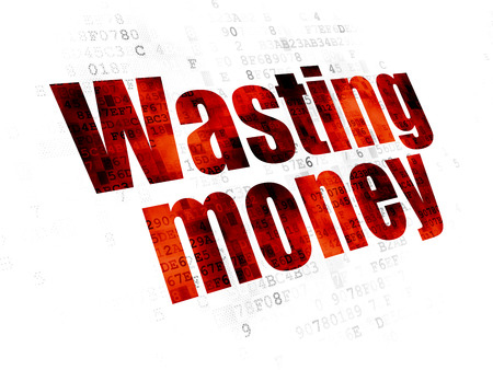 wasting: Money concept: Pixelated red text Wasting Money on Digital background