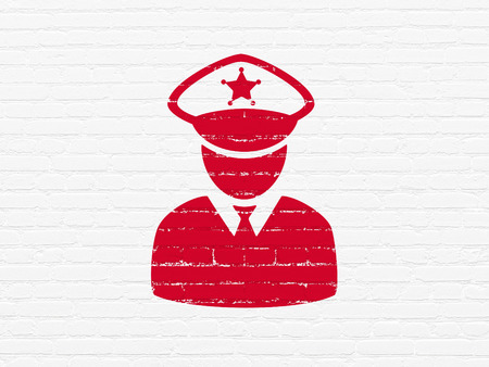 lex: Law concept: Painted red Police icon on White Brick wall background