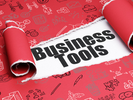 brand damage: Finance concept: black text Business Tools under the curled piece of Red torn paper with  Hand Drawn Business Icons