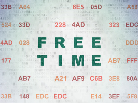 cronologia: Concepto de l�nea de tiempo: Pintado texto verde Tiempo libre en el fondo del papel digital con c�digo hexadecimal
