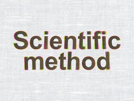 metodo cientifico: Concepto de la ciencia: CMYK Método Científico en la ropa de tela de textura de fondo