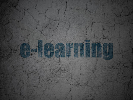 elearn: Education concept: Blue E-learning on grunge textured concrete wall background