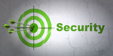 success security: Success security concept: arrows hitting the center of target, Green Security on wall background Stock Photo