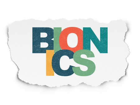 bionics: Science concept: Painted multicolor text Bionics on Torn Paper background
