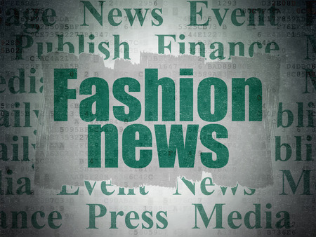 urgent announcement: News concept: Painted green text Fashion News on Digital Paper background with   Tag Cloud